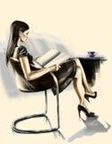 Lady reading magazine Royalty Free Stock Image