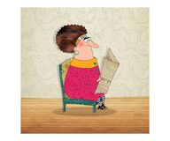 Lady is reading the newspaper Royalty Free Stock Photo