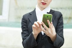 Lady Reading Sms Stock Images