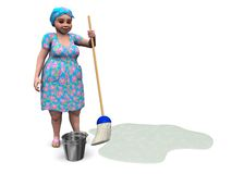 Lady ready to mop the floor. Royalty Free Stock Image