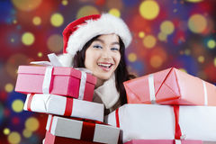 Lady receives many surprise gifts Stock Images