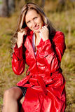 Lady in red. Beautiful smiling lady in red Stock Photos