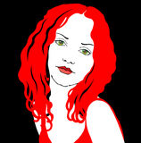 Lady in red. Vector lady in red on black background Royalty Free Stock Photo