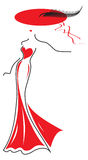 Lady in red. Vector drawing a beautiful lady in a red dress and a hat with a feather Stock Images