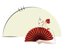 Lady In Red. A lady in red looking to the side, while holding a fan Royalty Free Stock Image