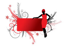 Lady in red. Red banner with women silhouette in red dress and swirls in background stock illustration