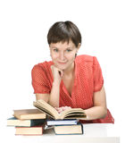 Lady in red. Young women with books on white background Stock Photography