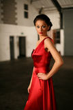 Lady in Red. Beautiful girl in red cocktail dress Royalty Free Stock Images