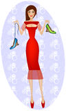 Lady in red buying shoes. Difficult decision Stock Image