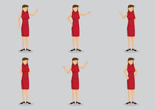 Lady In Red Cheongsam Vector Character Illustration Stock Images