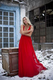 The lady in a red dress Royalty Free Stock Image