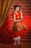 Lady in red dress Royalty Free Stock Image