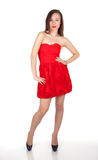 Lady in red dress Stock Photos