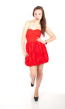 Lady in red dress Stock Images