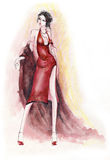 Lady in Red Dress. Fashion illustration depicting a brunette woman wearing a formal red gown and a shawl. Created with watercolors and ink Royalty Free Stock Photo