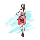 Lady in red dress on the background of watercolor strokes. Vector fashion illustration, isolated on white background. Royalty Free Stock Photo