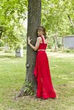 Lady in red dress. Beautiful lady in red are standing near tree summer day Stock Images