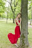Lady in red dress. Beautiful lady in red are standing near tree summer day Royalty Free Stock Photography