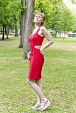 Lady in red dress Royalty Free Stock Images