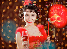 Lady in red dress at the carnival Royalty Free Stock Photo