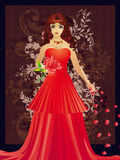 Lady in red dress with floral Royalty Free Stock Image