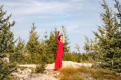 Lady in a red dress in the forest Stock Image