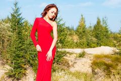 Lady in a red dress in the forest Royalty Free Stock Image
