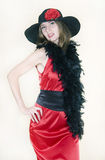 The lady in red dress and hat Stock Images