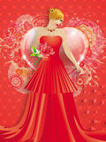 Lady in red dress with hearts stock images