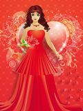 Lady in red dress with hearts Royalty Free Stock Image
