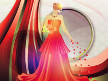 Lady in red dress on holiday background Royalty Free Stock Images