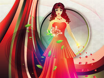 Lady in red dress on holiday background Royalty Free Stock Photos