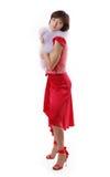 Lady red dress isolated white background Stock Image