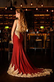 Lady in a red dress in the restaurant Royalty Free Stock Photography