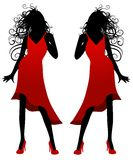 Lady in Red Dress Silhouette. A clip art illustration featuring the silhouette of a woman with long hair in a red dress and heels Stock Photos