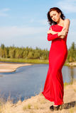 Lady in a red dress royalty free stock image