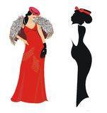 Lady in red evening dress royalty free illustration