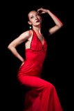 Lady in red evening dress Stock Images