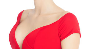 Lady In Red. Female bust and smooth skin in red dress. Perfect for plastic surgery concept Stock Photo