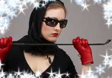 Lady in red gloves with crop Royalty Free Stock Image