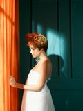 Lady with red hair. Beautiful young lady with red hair in blue interior Stock Photography