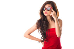 Lady in red. Isolated image of a gorgeous lady in red dress on white Royalty Free Stock Images