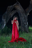 Lady in the red at night Stock Photos