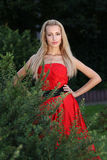 Lady in red outdoors Royalty Free Stock Photography