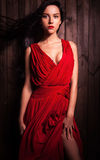 Lady in red pose on wooden background. Stock Image