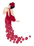Lady in red. Pretty cartoon lady in red flower dress Stock Images