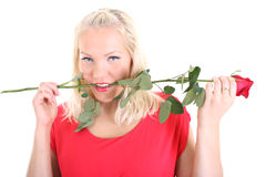 Lady in red with red rose in her teeth Stock Photos