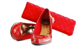 Lady red shoes and woman bag Royalty Free Stock Photos