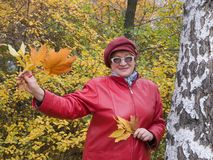 Lady in red stays in autumn park. Royalty Free Stock Image
