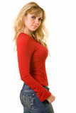 Lady in red top Stock Photo